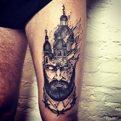 tattooed heart ministries burning church in head tattoo on thigh by barbe rousse jpg