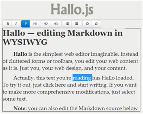javascript tutorial rich text editor hallo js simple rich text editor for the web jquery