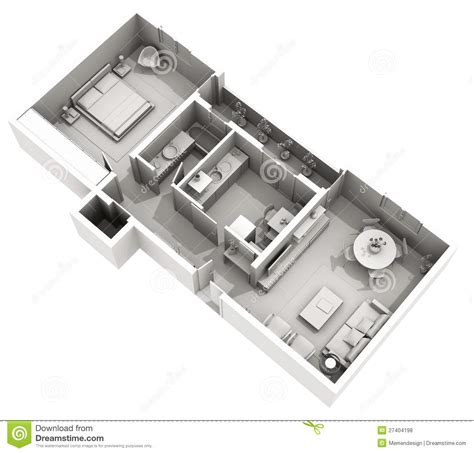 3d floor plan stock illustration image of design 3d clay render home cozy apartment interior design stock