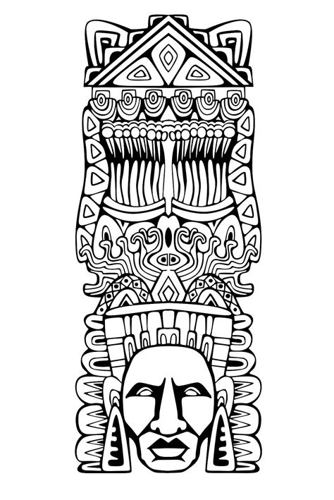 aztec coloring pages free coloring page coloring totem inspiration inca