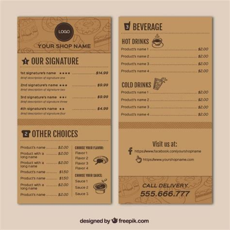free coffee shop menu template coffee shop menu template vector free