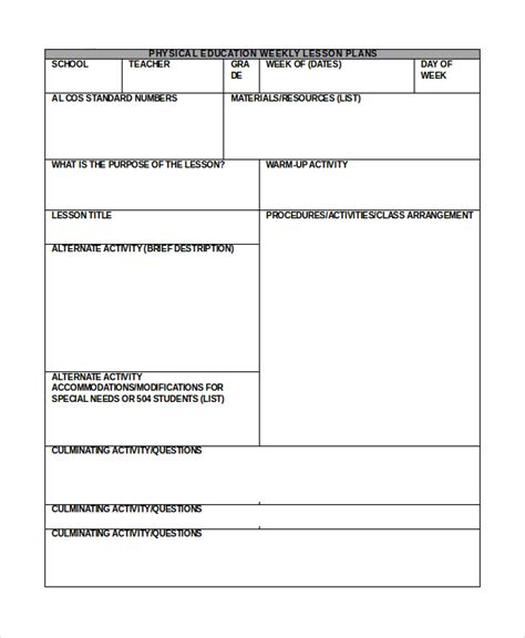 lesson plan template word document sle lesson plan in word 10 exles in word