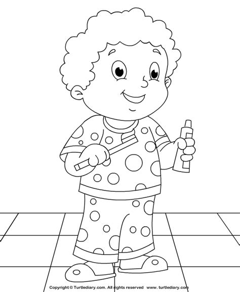 brush your teeth coloring sheet turtle diary