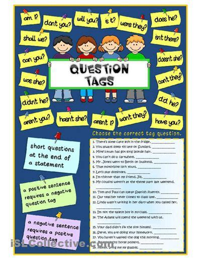 free printable question tags exercises tag questions worksheet free esl printable worksheets