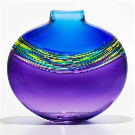cool vases transparent banded vortex vase in cerulean cool lime and