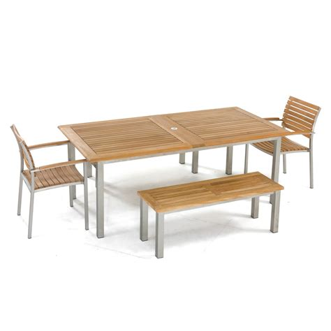 teak and stainless steel table and benches westminster