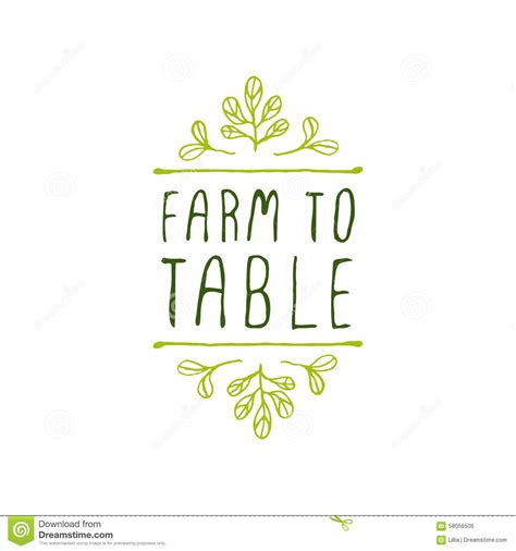 farm to table farm to table product label on white background stock vector image 58056506