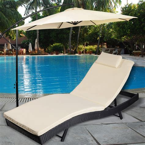 pool beds adjustable pool chaise lounge chair outdoor patio furniture pe wicker w cushion ebay