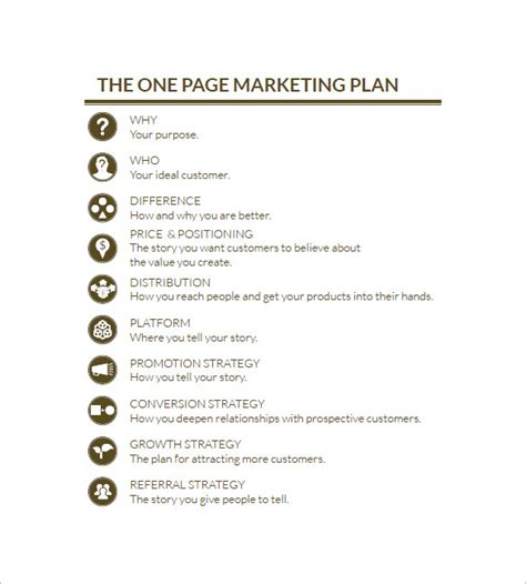 plan template pdf one page marketing plan marketing plan outline