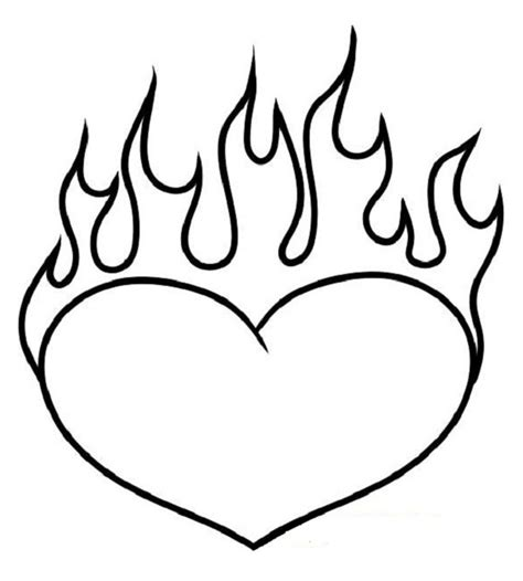 Coloring Pages Of Hearts With Flames | coloring pages of hearts with flames only coloring pages