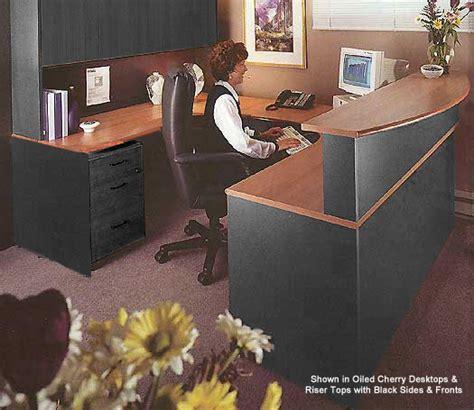 wrap around office desk create an impressive reception area with a wrap around