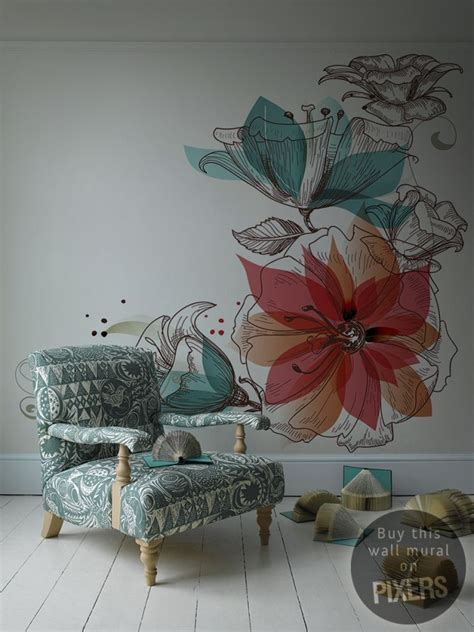 wall mural ideas flowers retro living room pixers 174 we live to