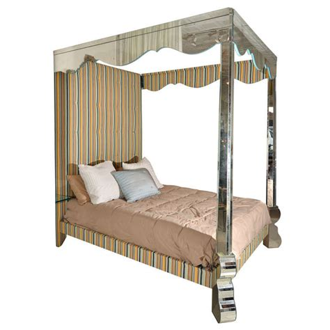 Mirrored Canopy Bed Mirrored And Upholstered Four Poster Canopy Bed At 1stdibs