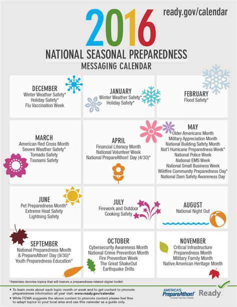 2016 holidays 2016 calendar of events teaching ideas graphic ready 2016 national seasonal preparedness