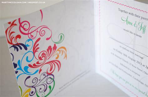 rainbow carnival typography wedding invitations wedfest