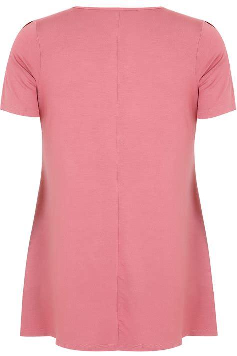 Jersey Pink pink jersey t shirt with mesh frill yoke plus size
