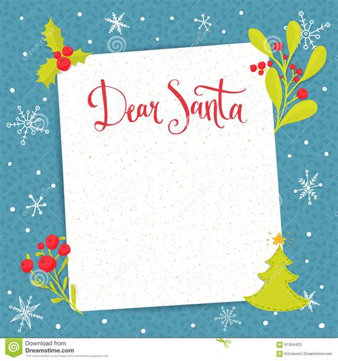 layout christmas letter dear santa letter to santa claus with blank stock vector