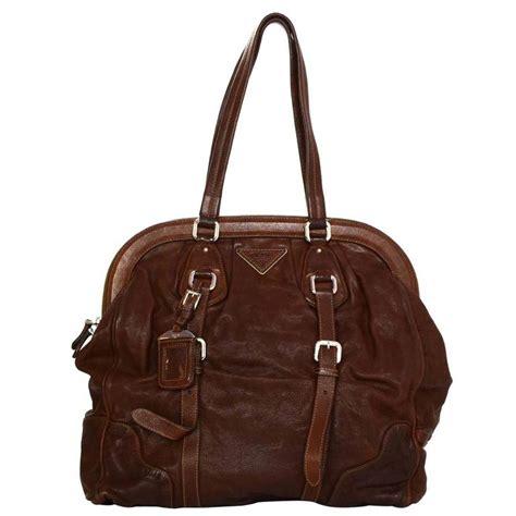 Prada Cocoa Leather Frame Top Medium Shoulder Bag by Prada Brown Leather Xl Frame Shoulder Bag With Shw For