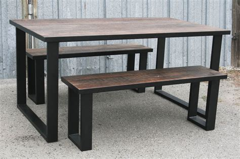 reclaimed wood dining table set combine 9 industrial furniture modern dining set