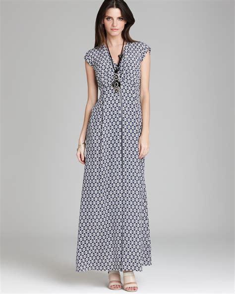 weekend by maxmara maxi dress afoso silk crepe de chine ikat print in blue lyst