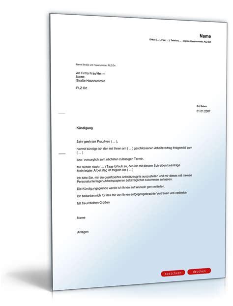 Musterbrief Kündigung Arbeitsvertrag Kostenlos K 252 Ndigung Arbeitsvertrag Fristgem 228 223 Arbeitnehmer Muster Vorlage Zum