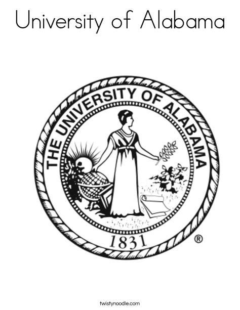 university of alabama coloring page twisty noodle