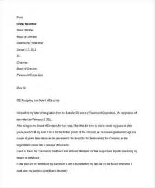 Board Of Directors Resignation Letter by 10 Board Resignation Letters Free Sle Exle