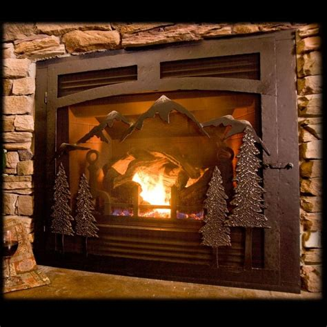 Gas Fireplace Doors by Selway Mountain Gas Fireplace Iron Doors Home