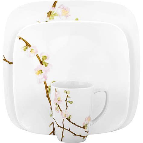 corelle squared pattern dinnerware dinnerware corelle square cherry blossom 32 piece service