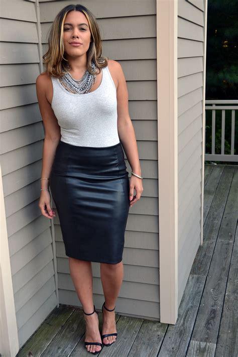 black pencil leather skirt redskirtz
