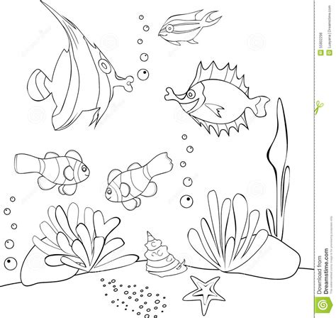underwater world printable coloring pages underwater world stock vector illustration of colouring