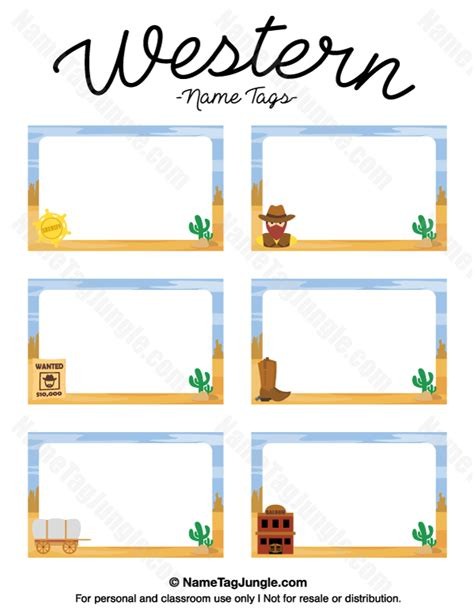 Free Template For Labels For Cards Western by Printable Western Name Tags