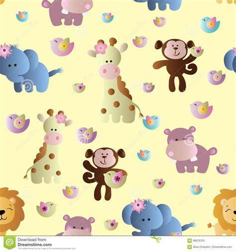 cute africa pattern seamless pattern with cute african animals stock vector