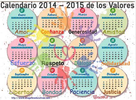 Calendario Y Sus Dibujos Calendario De Los Valores 2014 2015 Imagenes Educativas