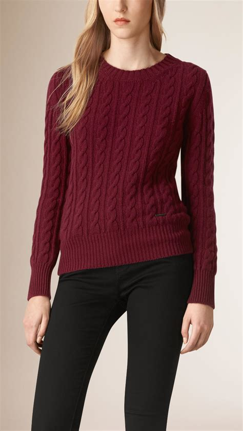 cable knit wool sweater burberry cable knit wool sweater damson in