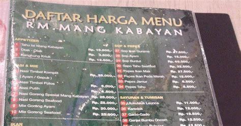 foto foto perjalanan daftar harga menu rumah makan mang