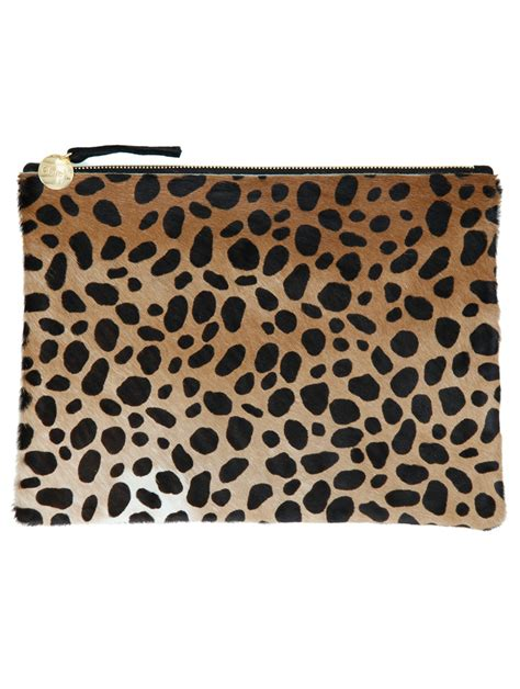 Up Of Designer Animal Print Clutch by Clare V Leopard Print Fur Clutch Bag In Animal Leopard