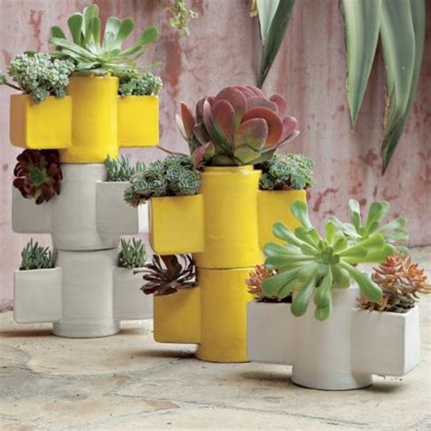 Stackable Garden Planter by Stackable Totem Planter Indoor Pots And