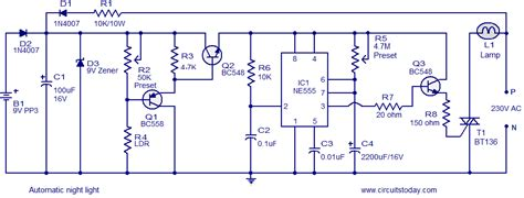 auto dimming night light automatic night light circuit that switches off after a