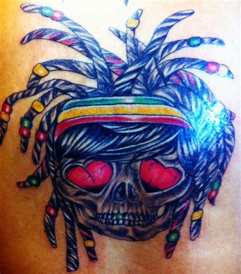 rasta skull my favorite tattoo on me tattoos pinterest