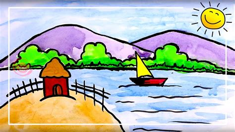painting for child coloring for beautiful scenery painting for