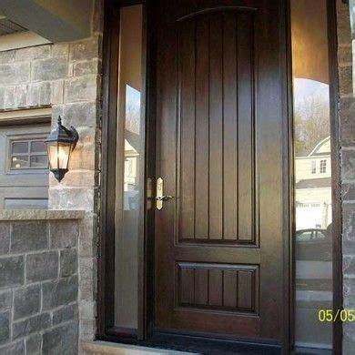 Exterior Doors Oakville Entrance Door Woodgrain Front Single Rustic Fiberglass With 2 Frosted Side Lights Installed By