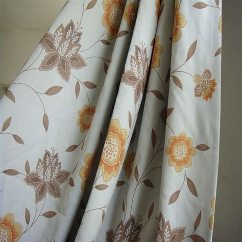 Orange And Brown Curtains Eco Friendly Brown And Orange Floral Curtains