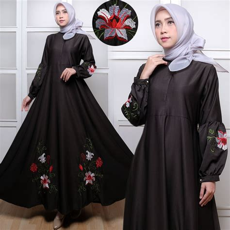 Gamis Dress Baloteli Polos by Gamis Dress Polos C035 Baloteli Bordir Hitam Putih Murah