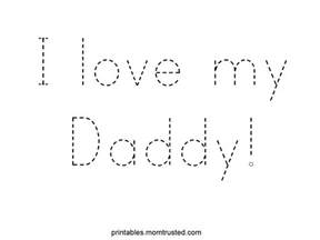 traceable i love my daddy worksheet preschool activities