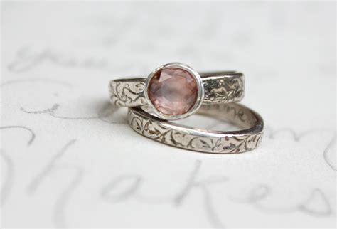 sapphire engagement ring wedding band set blush pink