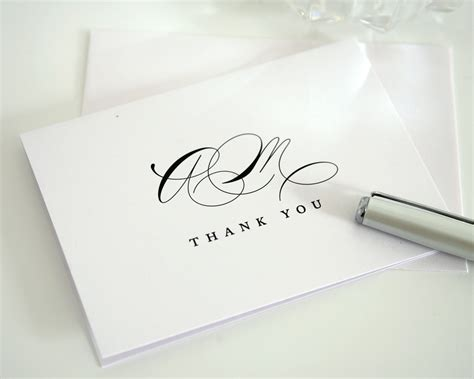 wedding thank you cards with monogram thank you cards by shine