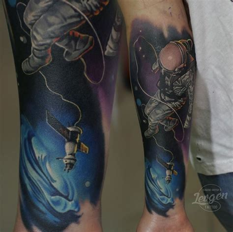 tattoo new school space new school style colored forearm tattoo of man in space