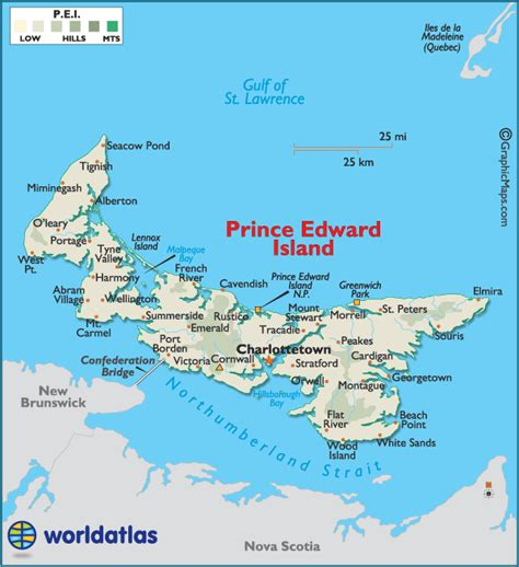 prince edward island map of canada prince edward island canada large color map