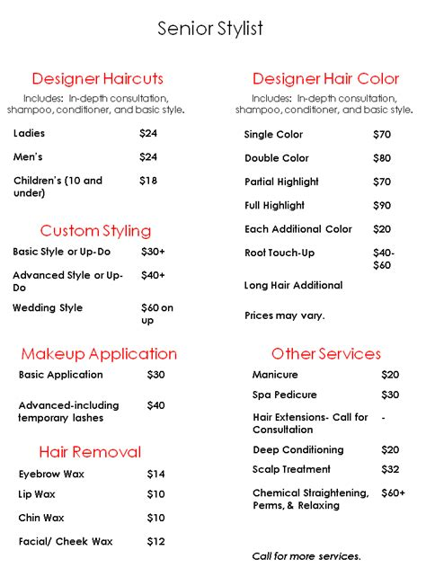 regis salon prices list regis hair salon price hairstyle galleries for 2016 2017